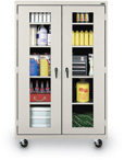 Mobile Clear View Steel Storage Cabinet
